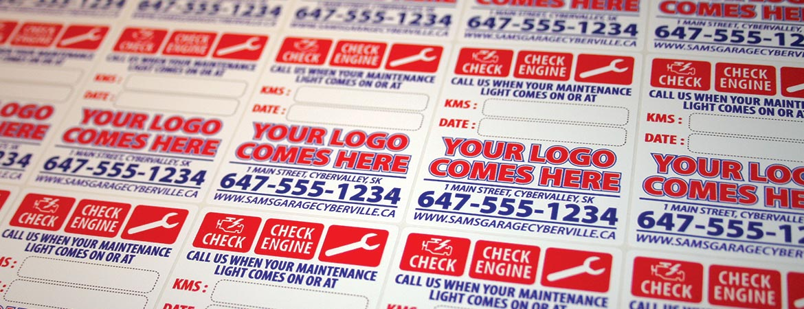 Custom Full Color Oil Change and Maintenance Light Combo Reminder Service Stickers