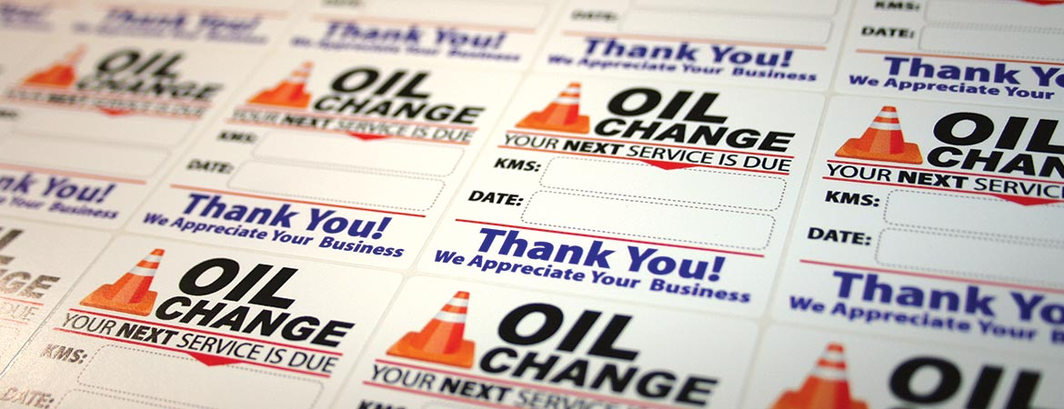 Custom Full Color Oil change Reminder Service Stickers