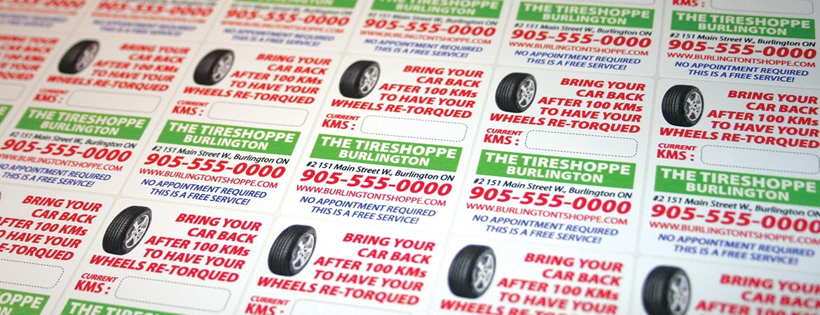 Custom Full Color Tire Re-Torque Reminder Service Stickers