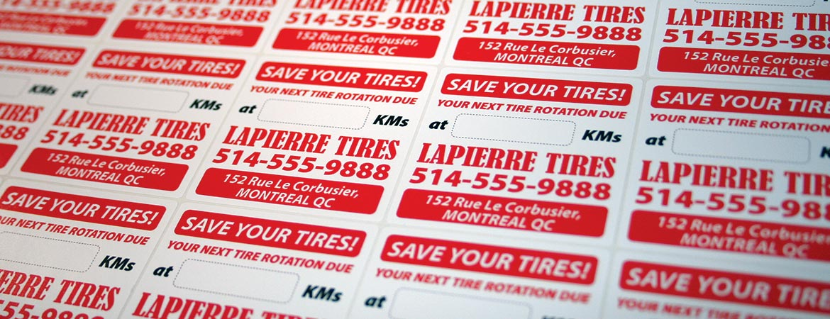 Custom Full Color Tire Rotation Reminder Service Stickers